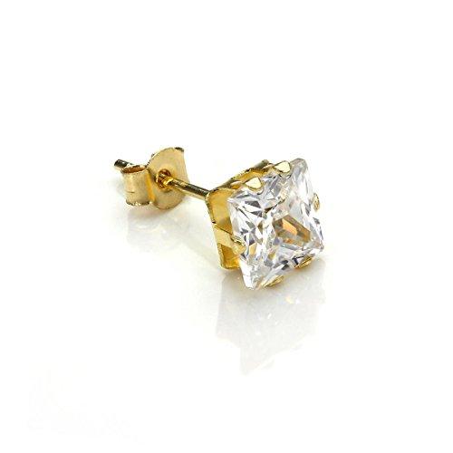 Männer Gold-ohrringe (9K Gold 5mm Klar Viereck CZ Kristall Einzel Ohrstecker / Männer Ohrringe / Stecker)
