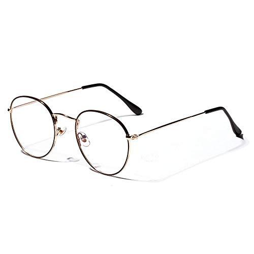 YMTP Klassische Retro Brillengestell Oval Männer Frauen Große Optische Rahmen Gläser Transparent Objektiv Metall Spektakel, Schwarz Golden