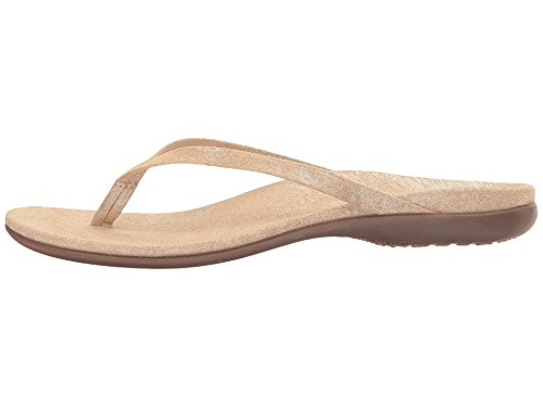 Vionic Selena Corfu Women Open Toe Suede Gray Thong Sandal Light Tan Pixel Suede