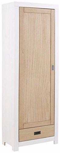 Loft24 1-türig Kleiderschrank Garderobenschrank Dielenschrank Landhaus Kiefer Massivholz 1 Schublade (weiß/Noce hell)