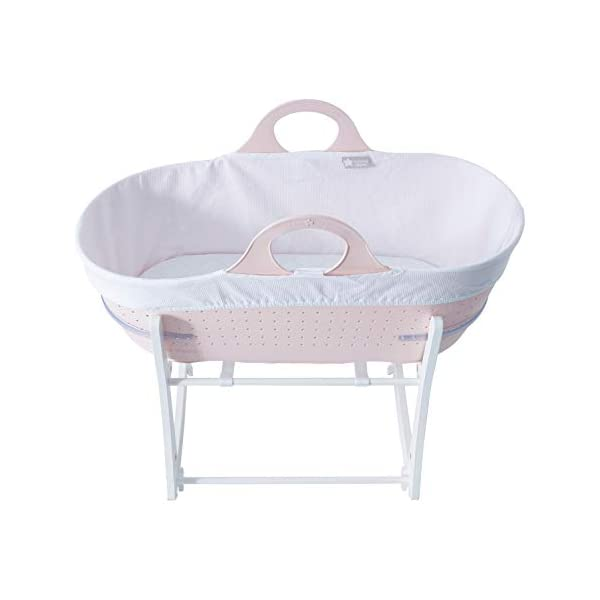 Tommee Tippee Sleepee Baby Moses Basket and Rocking Stand Pink Tommee Tippee Safe, modern, portable baby moses basket, perfect to keep your newborn baby nearby as they sleep, day or night. your sleepee moses basket comes with complete with mattress, liner and rocking stand. Choose static or rocking position, the curved base on the stand allows you to gently rock your baby to sleep and features adjustable safety stops to give you the option of rocking or keeping it still. Easy to clean, the sleepee moses basket can be cleaned with warm soapy water. the water-resistant mattress cover is wipe clean and machine washable. the 100 % cotton liner is machine washable. 8
