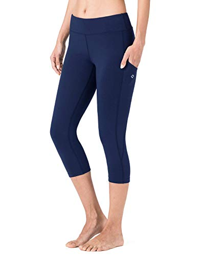 NAVISKIN Damen 3/4 Jogginghose Fitness Blickdicht Trainingshose Yoga Gym & Pilates Active Tight Dreiviertel hautsympathisch Leggings atmungsaktiv Laufhose Blau Größe M
