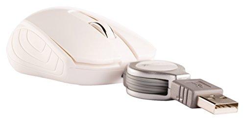 Eurosell Mini USB Maus - Kabel Aufroller einziehbar aufrollbar - Laptop Computer Notebook Pc - Optisch (Weiss)