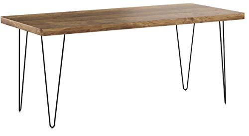 FineBuy Massiver Esstisch Harlem 180 x 80 cm Sheesham Massiv Holz | Esszimmertisch Massivholz mit Design Metall Beinen | Holztisch Tisch Esszimmer | Küchentisch