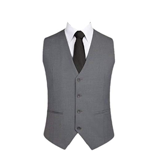 CuteRose Mens No-Iron V-Neck Skinny Button-Up Business Business Waistcoat Grey 3XL -