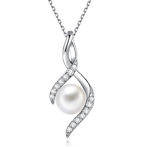 Collier Femme en Argent 925 Pendentif Femme avec Perle d'Eau Douce Bijoux Femme en Argent Cadeau pour Femme