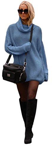 Damen Strickpullover Sweater Rollkragen Pullover Kuscheliger Jumper Strick Pulli Oversize (648) Jeans