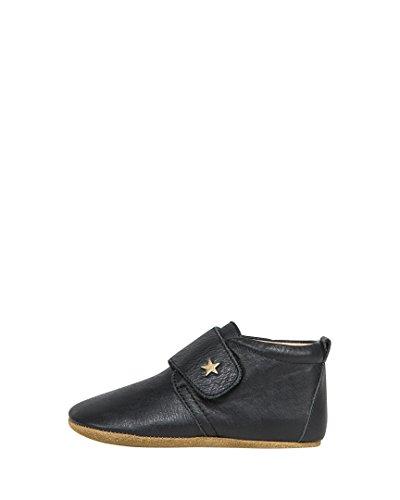 Bisgaard Unisex-Kinder Velcro Star Pantoffeln Schwarz (Black)