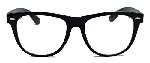 Geek Style XL ! oversized Fashion Brille Nerdbrille Streberbrille Klarglas 153 (Schwarz)
