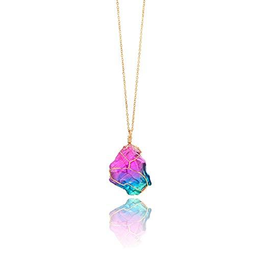 Laileya Frauen-Regenbogen-Naturstein-Anhänger-Halskette Hochzeit Stein Halskette Hochzeit Geschenk-Kristallschmucksache-Strickjacke-Kette zufällige Farbe