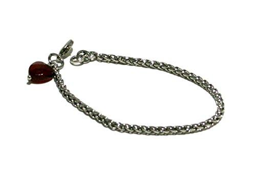 bracciale catena spiga galvanica colore rodio con pendente cuore in pietra dura