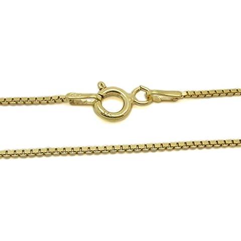 Amberta® Gioielli - Collanina - Catenina Argento Sterling 925 - Placcato Oro - Modello Veneziana - Larghezza 1 mm - Lunghezza: 36 40 45 50 55 60 (cm)