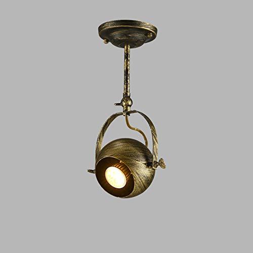 Deckenleuchte-bronze-anhänger (Retro Bronze Deckenleuchte Industrie Anhänger Strahler Vintage Metall Drehbar Einstellbar Deckenlampe für Loft Wohnzimmer Küche Flur Bar Cafe E27 Deckenspot)