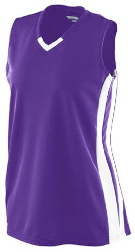 Girl's Wicking Mesh Powerhouse Jersey PURPLE/ WHITE S (Mädchen Wicking Augusta Mesh)