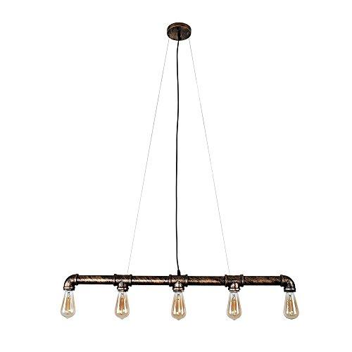 Lingkai Industrielle Wasserrohr Geformt Hängelampe Deckenleuchte Vintage Light Edison Rustikale Retro Licht Anhänger Steampunk Metall Wasser Rohr Lichter (Fünf Lichter)