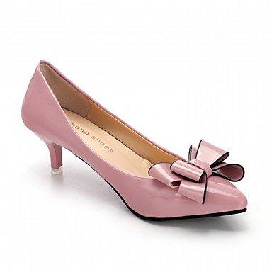 Talloni delle donne Primavera Autunno Dress Comfort in similpelle ufficio & carriera Stiletto Heel Casual Bowknot Nero Rosa Rosso Bianco Black