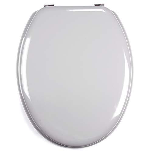 MSV 140016 WC-asiento, DM/acero inoxidable, 42,5 x 36,5 x 1,6 cm, gris