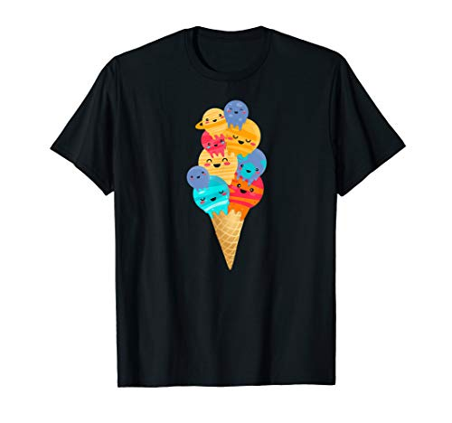 Kawaii Planet Ice Cream Scoops Funny Space Galaxy T-Shirt