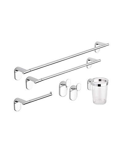 metaform set accessori bagno kit completo zero cromo 5 pezzi in acciaio cromato e abs