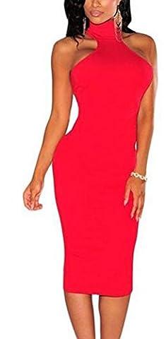 SunIfSnow - Chemise de nuit spécial grossesse - Uni - Sans Manche - Femme Noir Rouge