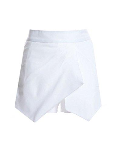 Bestgift Damen Kurz Hose Unregelmäßigen modische Shorts Hosen-Rock Weiß L