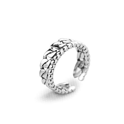 Beydodo Sterling Silber Ringe Damen Biker Kette Trauring Freundschaft Ring Silber (Längliche Ring Silber)