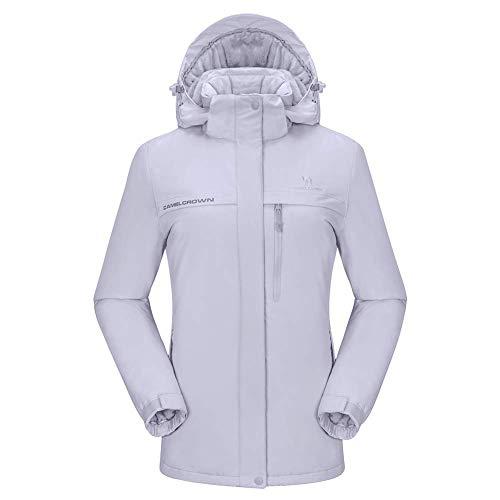 CAMEL CROWN Damen wasserdichte Jacke, Winddicht Ski Fleecejacke Winter Warme Jacken mit Kapuze, Regenjacke Sportswear Snowboard (Grau-1, M(US Label)=L(EU)) -