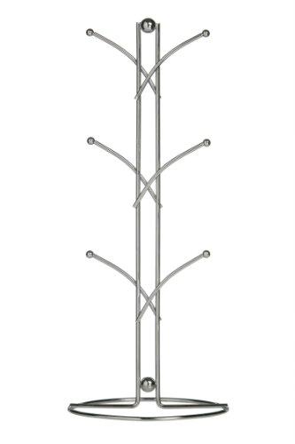 Premier Housewares Becherbaum für 6Becher, Chromgeflecht, 39cm, Metal, Silber, 16x16x39