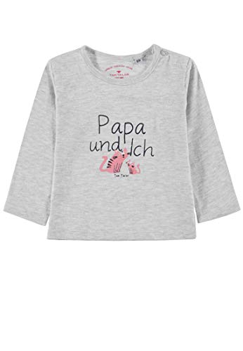 TOM TAILOR Kids Baby-Mädchen Placed Print T-Shirt, Beige (Lunar Rock Melange 8439), (Herstellergröße: 86)