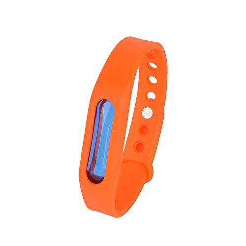 Kroo Mosquito Armband Insektenschutzmittel Armband Schutz und verstellbarer Armband Gurt für Babys Audlt und Haustiere Orange