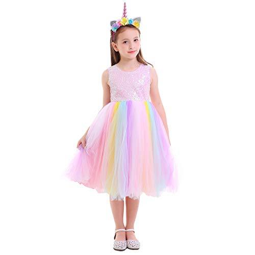 Kostüm Flapper Mädchen - OBEEII Einhorn Kleid Mädchen Kostüm Einhorn Kinder Prinzessin Kleid Mädchen Partykleid mit Einhorn Stirnband Pailletten 7-8 Jahre
