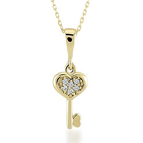 Damen Halskette aus 14 Karat - 585 Echt Gelbgold Kette mit Charms Anhänger Herz Schlüssel Geschenk für Valentinstag Geburtstag Weihnachten - Kette 45 cm