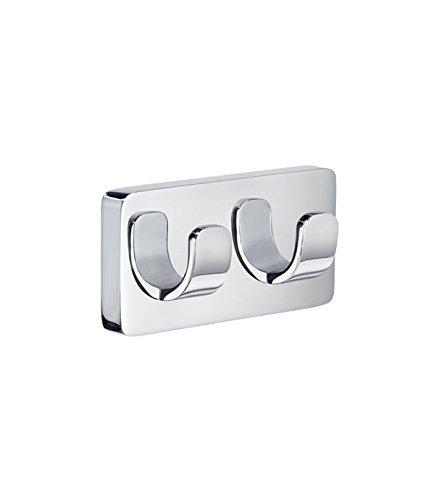 Smedbo ICE Doppelter Handtuchhaken/Badetuchhaken Messing verchromt