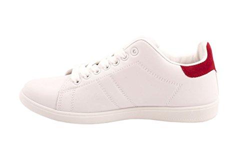 Elara Trendige Unisex Sneaker |Damen Kult Sport Laufschuhe | Turnschuhe Weiß / Rot