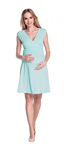 Happy Mama Damen Umstandskleid Ausgestellter Schnitt Sommerkleid Gr. 36-46 256p Hellblau