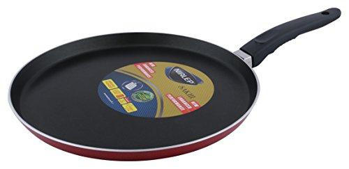 Nirlep Sakhi Non-Stick Aluminium Flat Tawa, 28 cm, Red
