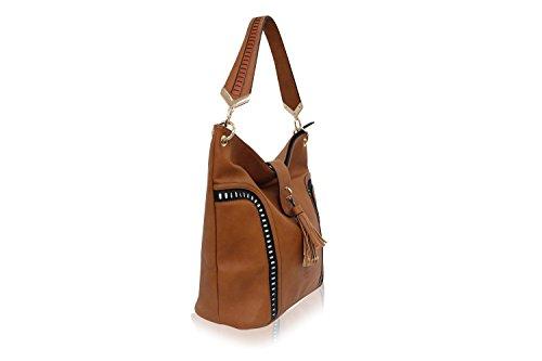 LYDC London Damen Handtasche PU-Leder Lasercut Schnittmuster Schultertasche Beuteltasche Tasche Braun