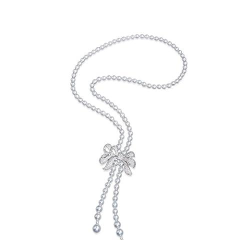 Frauen 8mm weiß Shell Pearl starnds Halskette Quaste Charm mit Zirkonia Schleife (Halskette Weiß Shell Halskette)