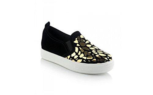 Beauqueen Plateau Schuhe Loafers Pumps Frauen Frühling und Sommer Flache Sequins Baumwolle weiblich Gold schwarz Casual Schuhe Special Größe Europa 30-44 , black , 44 (not returned)