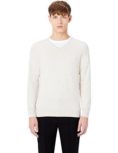 MERAKI Baumwoll-Pullover Herren mit V-Ausschnitt, Beige (Linen), Medium