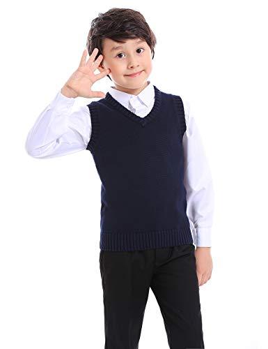 TopTie Jungen V-Ausschnitt Baumwolle Stricken ?rmellosen Pullover Schuluniform Pullover Weste (Navy/schwarz)-Navy-10
