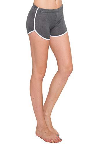 Always Damen Workout Yoga Shorts - Strick Stretch Cheerleader Laufen Tanzen Volleyball Kurze Hose mit Streifen - Grau - Mittel -