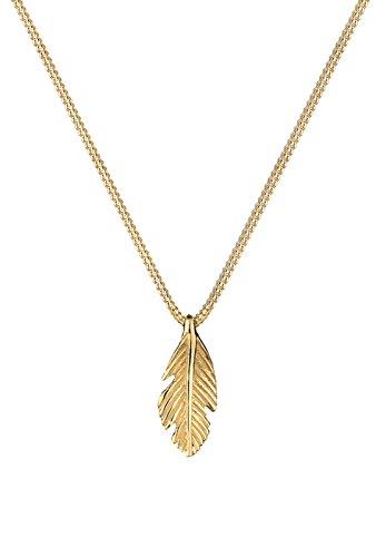 Elli Premium Damen Halskette mit Feder Anhänger in 585 Gelbgold 45 cm Länge