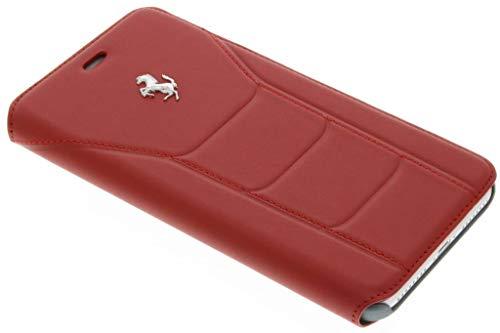 Ferrari FESEFLBKP7LRE Booktype Schutzhülle für Apple iPhone 7 Plus, Echtleder rot/Silber