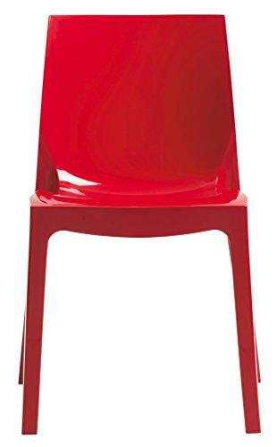 Ice sedia up-on made in italy in polipropilene per interni e esterni bar ristorante sala aspetto d'aspetto cucina soggiorno salotto giardino da casa studio giardino (rosso)