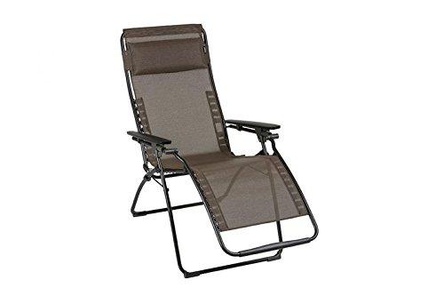 LAFUMA stilvoller Relaxsessel Futura Batyline Duo in schwarz aus Stahl, 83 x 71 x 113 cm, Sitzfläche aus hochwertiger Textilene in wood, mehrfach verstellbar, klappbar, inkl. Kopfpolster, wetterfest