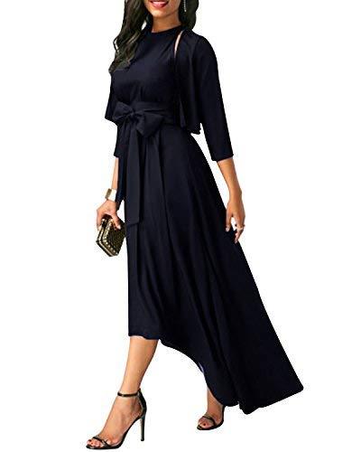 SOLERSUN Vintage Kleider für Frauen, Formal Elegantes Unregelmäßiges Saumlanges Abendkleid mit Strickjacke + Gürtel + Kleid Schwarz XL