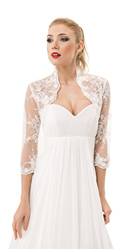 Damen Hochzeit Spitze Bolero fur die Braut Bolero Jacke 3/4 langer armel, mit Perlen und Flittern