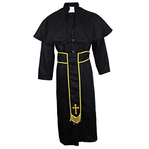 MagiDeal Herren Robe Umhang Mönchskutte Mittelalter Kleidung Kutte Priester Kostüm für Halloween Fasching Karneval Mottoparty - XL