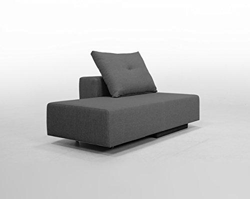 Minisofa BonBon2 - kleines Sofa Recamiere Schlafsofa - pflegeleichter weicher Mikrofaserstoff in grau, Kissen im Lieferumfang enthalten (dunkelgrau)
